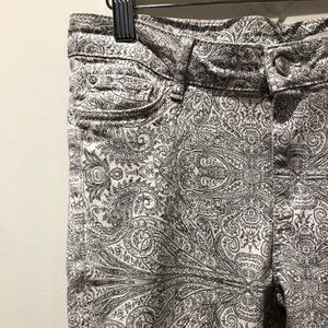 ZARA / paisley print jeans with ankle zip detail